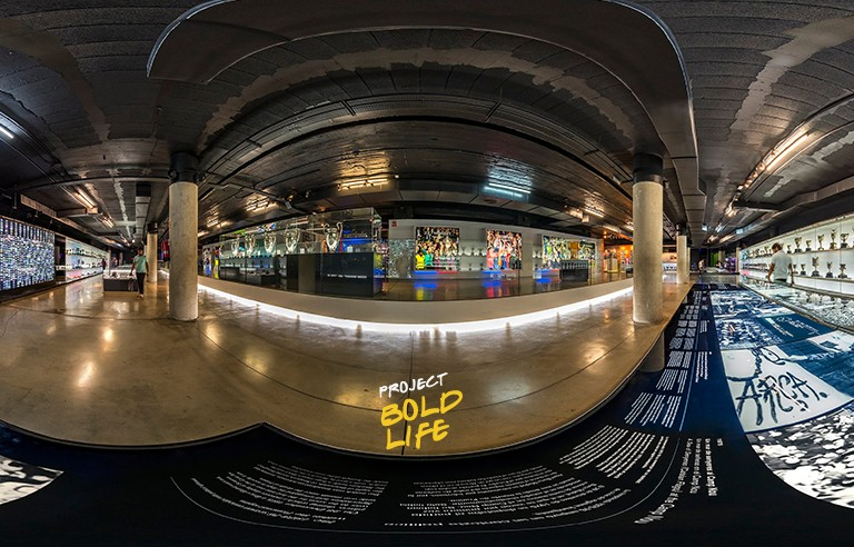 A panoramic view of an art exhibit
