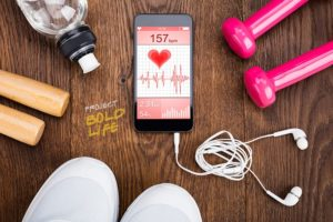 Workout equipment surrounding some fitness app