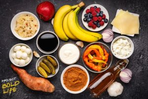 A bunch of gut-healthy foods on a table